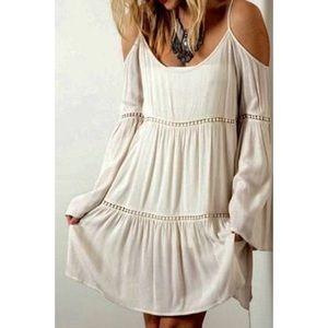 Umgee | Boho Cream Cold Shoulder Dress